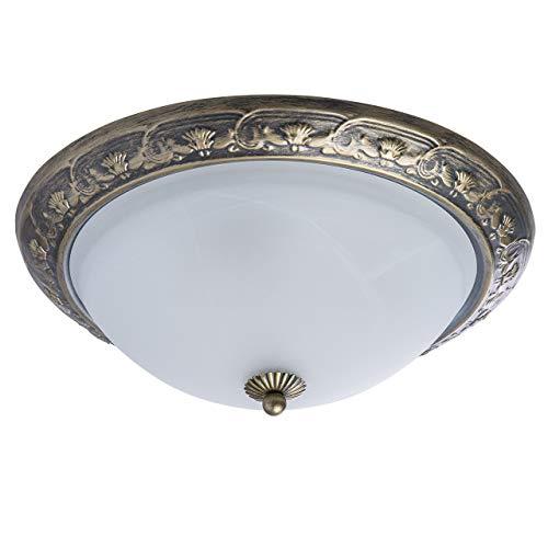 MW-Light 450015703 Antike Deckenleuchte 3 Flammig Rund Messing Weiß Glasschirm - Runde Antik