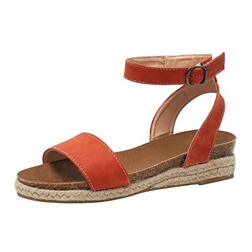 Frauen Keil Sandalen Sommer, Frauen Einfache Gladiator Gewebte Sohle Leopard Knöchelriemen Schnalle Plattform Sandalen Römische Schuhe -