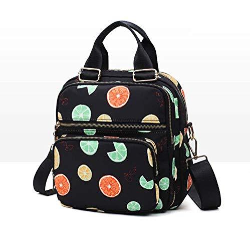 WngLei Multifunktionsrucksack Koreanische Version Von Oxford Tuch Druck Damentasche Handtasche Schulter Slung Umhängetasche Schulter Reise (Edition : Fruit Black)