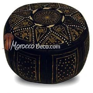 Pouf fassi en cuir Noir et Or, pouf marocain fait main en cuir véritable