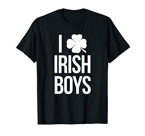I Love Irish Boys Clover Shirt For St Pattys Day (Love Irish Boys-t-shirts)