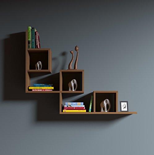 Homidea tail mensola da muro - mensola parete - mensola libreria - scaffale pensile per studio/soggiorno in un design moderno (noce)