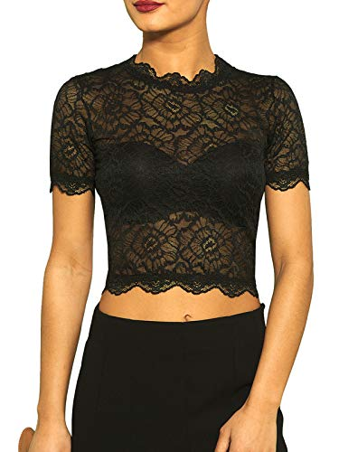 Kefali Damen Spitzen Shirt Bauchfrei Lace Crop Tops Blouse Schwarz XS/S - 34/36 -