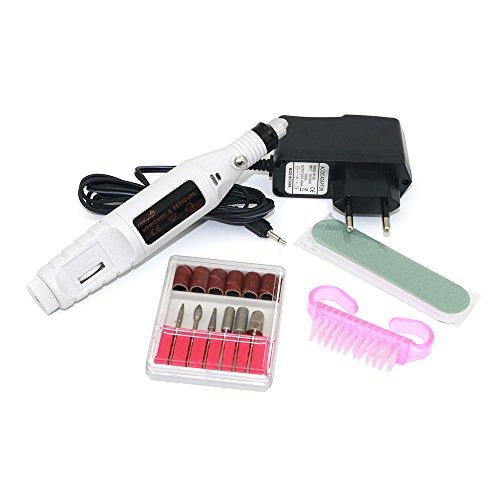 Betterhill Mini trivello elettrico della lima della macchina di Pedicure del manicure di arte del chiodo polacco con 6 bit e unghie pennello (Bianco)