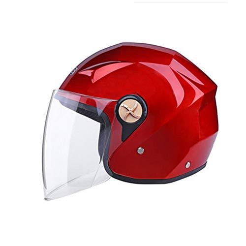 YSH Casco Motocicleta Protector Solar Vehículo Eléctrico Casco Moto Medio Abierto Cascos + Collar De Regalo para Adultos Hombres Mujeres Invierno,Red