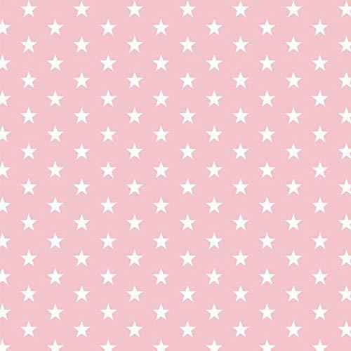 Stoff Meterware Baumwollstoff Sterne Dreiecke Rauten Punkte in verschiedenen Farben mint rosa grau ab 50cm x 150cm Kinderstoff Dekostoff Patchworkstoff (kleine Sterne rosa)