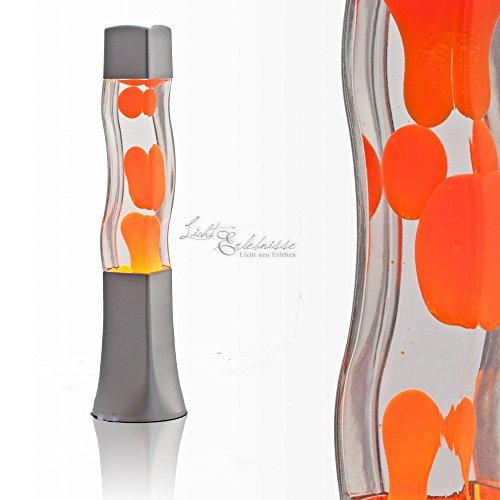 """Quadratische Lavalampe """"Beckster"""", Flüssigkeit klar, Wachs orange 41cm hoch Lavaleuchte"""