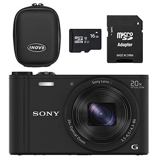 Sony DSCWX350 Kompaktkamera mit Wi-Fi und NFC, 16 GB Speicherkarte, Gehäusekit, 18,2 MP, 20-Fach optischer Zoom, Schwarz