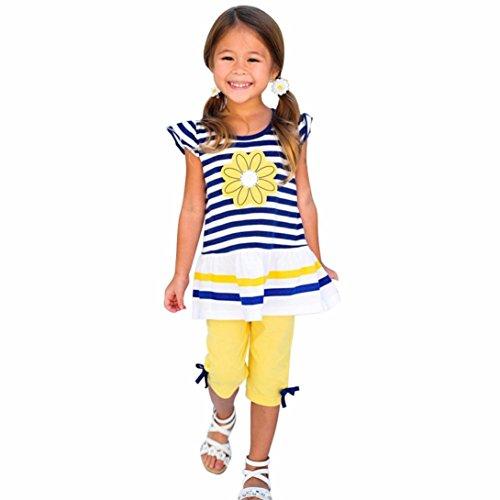 6 Flower Mädchen-top (Babykleidung Kleidung Flower Streifen Shirt Top Bow Pant Set Kindermädchen Oberbekleidung Mädchen Kleidung Blumenkleidung Tops + Hosen Outfits Set Baby Blumendruck (1-8Jahr) LMMVP (Gelb, 110 (4-5Y)))