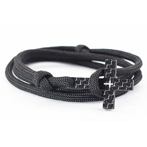 """kohlenstoff 12  Vaith"""" Armband Herren Cord Bracelet Schwarz Weiß Schmuck Kreuz Carbon Black White als edles Accessoire für den modernen Mann (18.00)"""