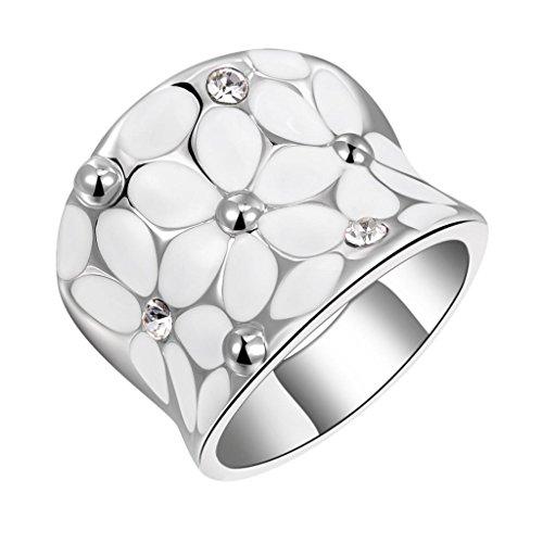 Bague Femme Fleurs Blanches Strass Cristal Elégant Mode Couleur d'Argent - 59
