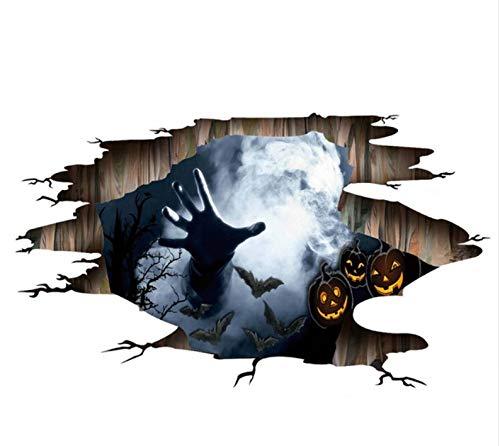 Yirenfeng Scary Halloween Wallpaper Decor 3D Ghost Wandaufkleber Für Halloween Home Decor Halloween Party Horror Wandaufkleber Dekorationen (Wallpaper Halloween Scary)