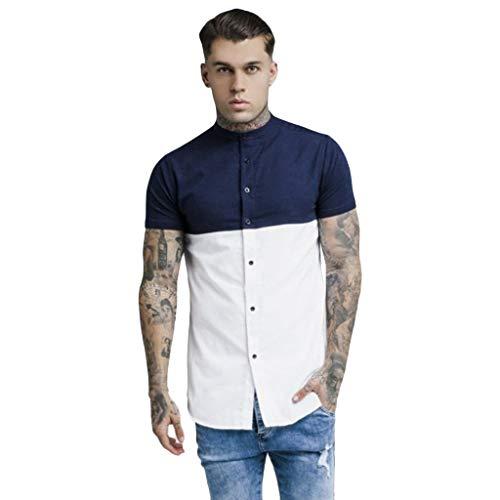 Auied Mode Herren Button Patchwork Zweifarbiges lässiges T-Shirt Kurzärmliges Top Sommer 2019