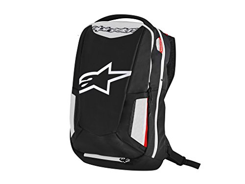 Alpinestars 6107717-123 Motorrad-Rucksack City Hunter Backpack, Black White RED, Schwarz Weiß