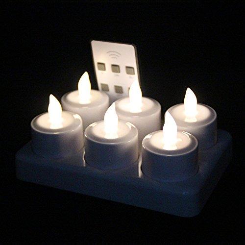 EuroFone Wiederaufladbare LED Kerze Teelichter Teelichter Flameless Kerze mit Ladestation 6pcs/set (Warm white with remote)