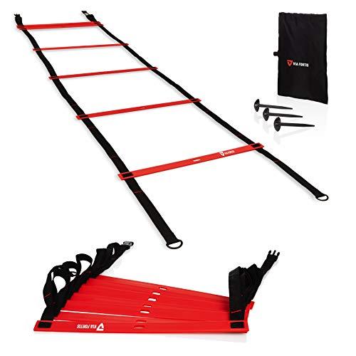 VIA FORTIS Premium Trainingsleiter (6m) - Koordinationsleiter für funktionelles Training, Fußball, Basketball, Tennis und mehr - 2x3m Agility Ladder mit Anti-Rutsch-Markierungen, Heringen und Tasche