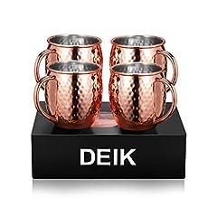 Idea Regalo - Deik Tazza Moscow Mule, Copper Mug 4 per imballaggio, Hammered Double wall Senza rivestimento Handmade, puro, grande e liscio per Gin, Russian, vodka