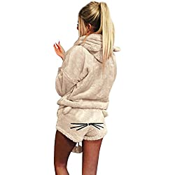 VRTUR Damen Warm Winter Kapuzenpullover Solide Farbe Zwei Stück Niedlich Katze Pyjama Nachtwäsche