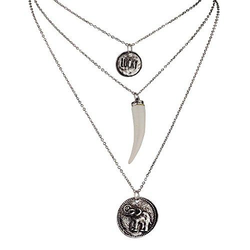 Elfenbein Toggle (Lux Accessories, Halsketten-Set mit Elefanten-Anhänger aus künstlichem Elfenbein, Glücksbringer)