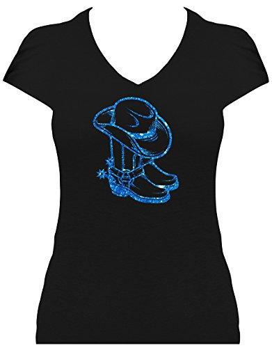 BlingelingShirts Premium Western Shirt Damen Cowboystiefel mit Cowboyhut Line Dance Shirt mit Glitzeraufdruck, T-Shirt, Grösse L, Druck Blau Glitzer