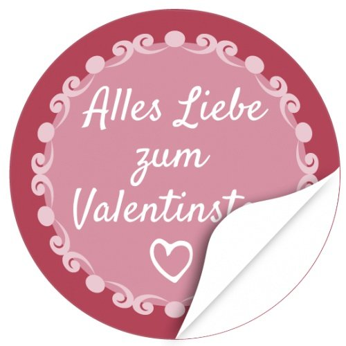 48 moderne Design Etiketten, rund / Liebe mit Schnörkeln / Valentinstag / Liebe / Herzen / Hochzeit / Geschenk-Aufkleber / Sticker /