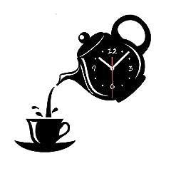 Idea Regalo - SODIAL Orologio da parete effetto specchio Tazza di caffe' forma cucina decorativa Orologi da parete Soggiorno Home Decor