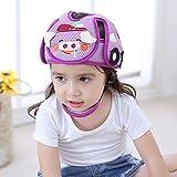 Bebé Anti-Colisión Casco de seguridad ajustable Niños Headguard infantil arneses de protección Cap Head Protector/Púrpura