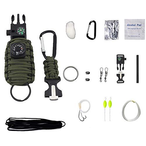 HW Kit De Bracelet De Survie, Bracelet Multifonction, Voyage en Plein Air Camping, Boussole,Thermomètre, Sifflet, Couteau À Corde, Grattoir pour Allumer Le Feu,Green