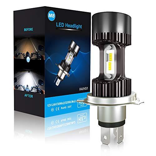 Lampadina H4 LED per Moto, 6400LM Lampada Sostituzione per Alogena, 12-24V, Xenon Bianco 6000K, Confezione da 1