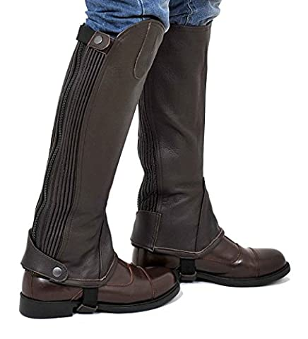 Riders Trend 10024174 (XX-Large, Calf (17 - 18) x Height-17 Inch) - Full Grain Leather Gaiter with Dual Stretch Leather Panel -