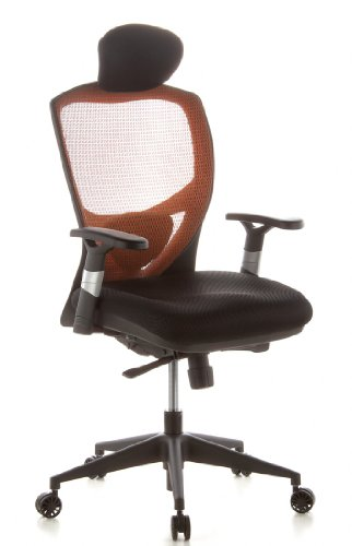hjh OFFICE 657120 Bürostuhl Chefsessel VENUS BASE Netzstoff orange, ergonomische flexible Lendenwirbelstütze, hoher Sitzkomfort, Drehstuhl ergonomisch, verstellbare Armlehnen, Schreibtischstuhl