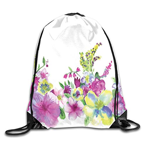 GONIESA Fashion New Drawstring Backpacks Bags Daypacks,Hybrid Garden Floret Composition with Heathers and Stocks Art,5 Liter Capacity Adjustable for Sport Gym Traveling - Fox Hybrid