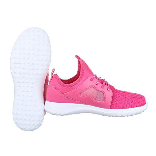 Sportschuhe Damenschuhe Geschlossen Schnürer Schnürsenkel Ital-Design Freizeitschuhe Pink