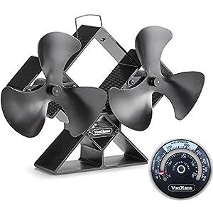VonHaus Ventilador De Estufa Doble – Cuchillas Dobles Para Mayor Circulación – Para Quemadores De Leña/Madera – Dos…
