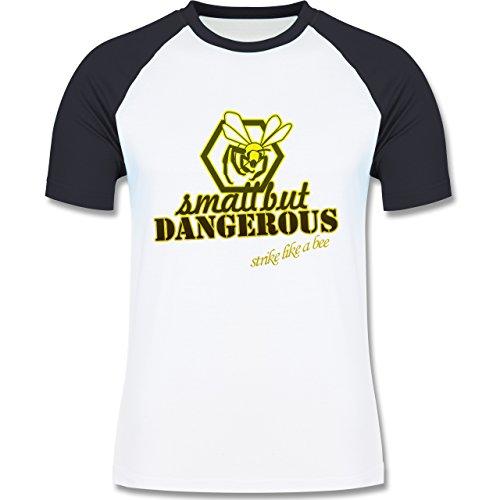 Statement Shirts - Small but dangerous Biene - zweifarbiges Baseballshirt für Männer Weiß/Navy Blau