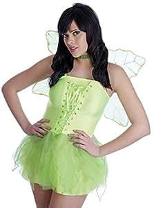 Déguisement sexy de petite fée verte avec le corset et la jupe en voile courte + les ailes + le collier ras de cou. ( XSmall - 34 )