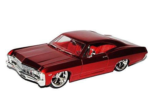 chevrolet-chevy-impala-coupe-rot-1967-1-24-jada-modell-auto-mit-individiuellem-wunschkennzeichen