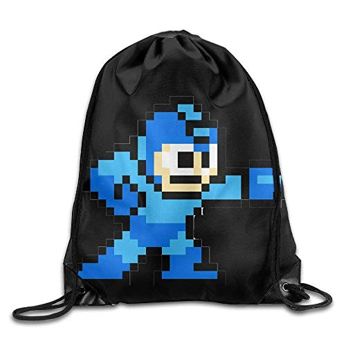 Dhrenvn Drawstring Backpack Bag Mega Man Pixel Video Game Robot Nylon Home Travel Sport Storage