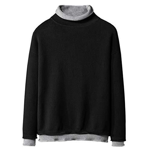 MOTOCO Herren Pullover mit Rundhalsausschnitt Pullover Strickpullover mit Langen Ärmeln Winter Pullover Top(XL,Schwarz)