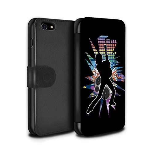 Stuff4 Coque/Etui/Housse Cuir PU Case/Cover pour Apple iPhone 8 / Pack (24 Designs) Design / Rock Star Pose Collection Pencher Noir