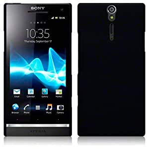 Sony Xperia S LT26i Hybrid Rubberised Back Cover Case / Shell Shield (Solid Black)