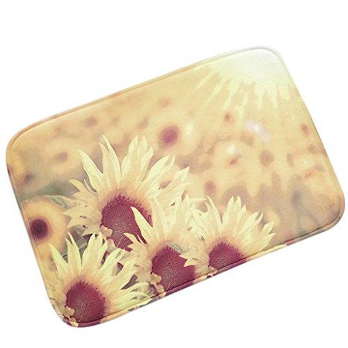 """Chezmax antiscivolo zerbino in pile corallo Kitchen Floor tappeto anteriore zerbino decorativo Predellino per esterno interno indoor outdoor divertente flanella Carpet Living bagno camera da letto, Sun Flower, 16""""*23""""/40cm*60cm"""