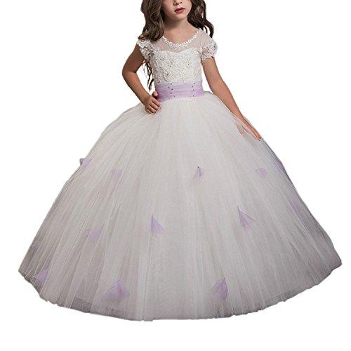 chen Puffy Kleid Kinder Prom Long Tüll mit lila Schärpe (10) (Erste Kommunion Kleider Puffy)