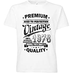 ShirtWorld - Aged to Perfection 1978 zum 40. Geburtstag - Herren T-Shirt Weiß M