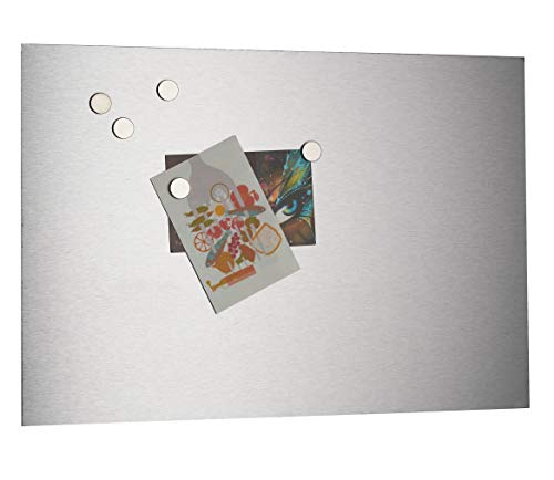 Magnetische Pinnwand/Memoboard aus satiniertem Edelstahl, A3, 297 x 420 mm, selbstklebend