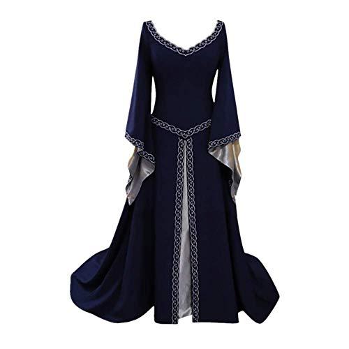 Kostüm Renaissance Einfache - Damen Mittelalterliche Kleid Große Größen, Rovinci Vintage Karneval Cosplay Maxikleid Mit Kapuze Renaissance Partykleid Bodenlänge Karneval Cosplay Kostüm Mantel Kostüme Lace Up Pullover