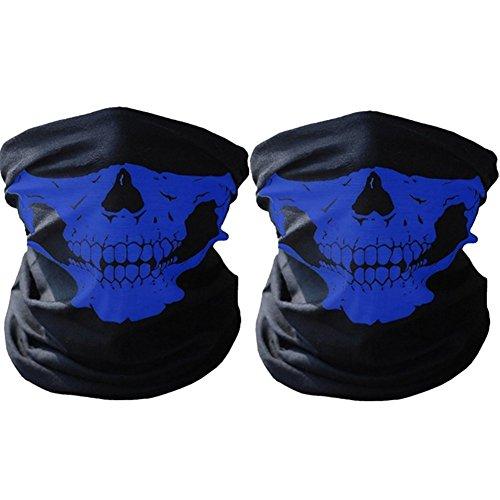 SWAMPLAND Multifunktionstuch 2 Stück Winddicht Nahtlos Totenkopf Motorrad Fahrrad Ski Maske Schlauchschal,Blau