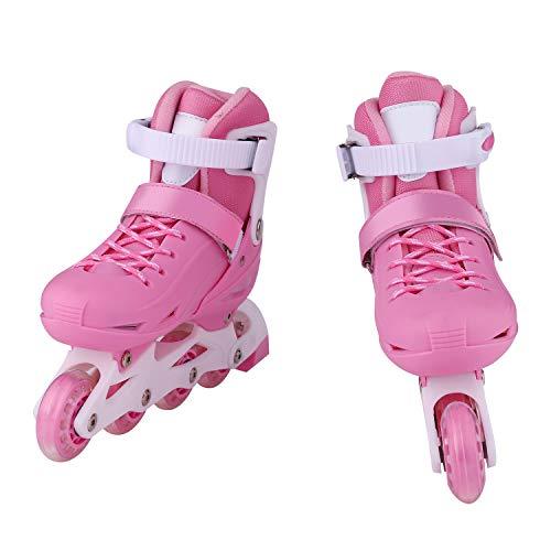 oplon Kinder Rollschuhe Rollerskates Rollerblades 2 in 1 Inline-Skates Roller-Skates schaltbar größenverstellbar von 31 bis 38 für Anfänger (Rosa, 35-38)