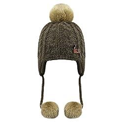 Babymütze Kinder Wintermütze Kindermütze Strickmütze Baby Beanie Baskenmütze warm Winter Haube Kapuze Mützen Hüte für Mädchen Jungen, Khaki, Einheitsgröße