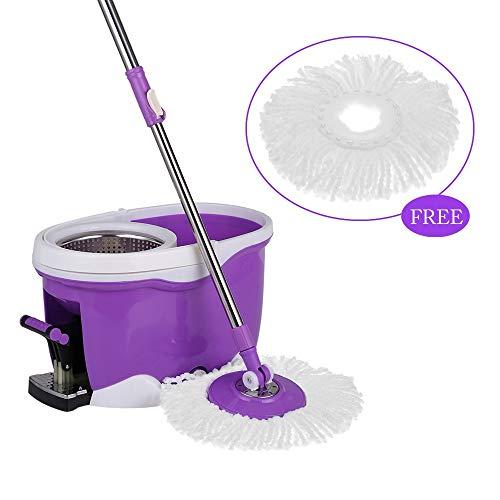 Scopa mop e benne magic floor spin mop pedale girevole a 360 ° con rotazione a rotazione set secchio con pedale rotante mop da pavimento con 2 testine in microfibra